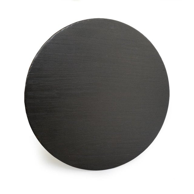 Modern Black Wood Top Side Table For Sale - Image 4 of 4