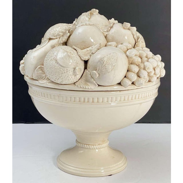 Italian Creamware Tureen or Bowl on Pedestal With Mixed Fruit Topiary Top For Sale - Image 10 of 13