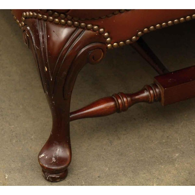 Gold Large French Tufted Leather Foot Stool For Sale - Image 8 of 13