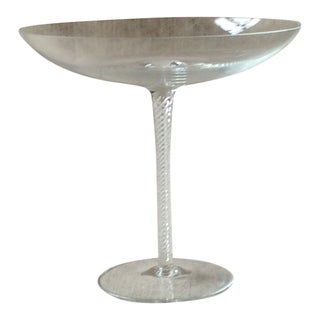 Vintage Mid-Century European Crystal Air Twist Stem Compote Bowl For Sale