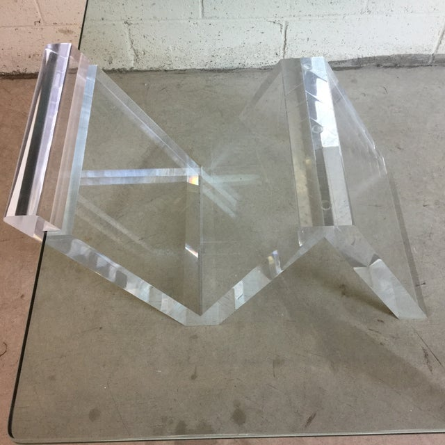 1970s Cantilevered Glass & Lucite Coffee Table For Sale - Image 5 of 10