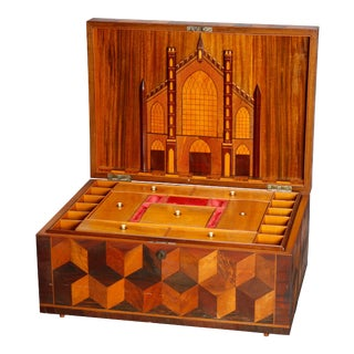 Antique Folk Art Inlaid Parquetry Pictorial Sewing Box with Church, circa 1890 For Sale