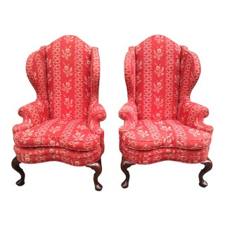 1950s Vintage Kittinger Cw163 Williamsburg Queen Ann Style Wingback Chairs- A Pair For Sale