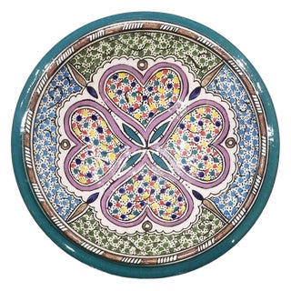 Moroccan Hand Painted Pottery Plate, Multi-Color 95 For Sale