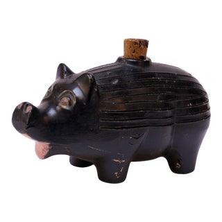 "1930s American Ceramic Ebony ""Pig"" Whiskey Nip / Flask For Sale"