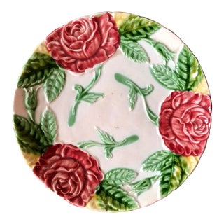 Antique French Majolica Rose Plate For Sale