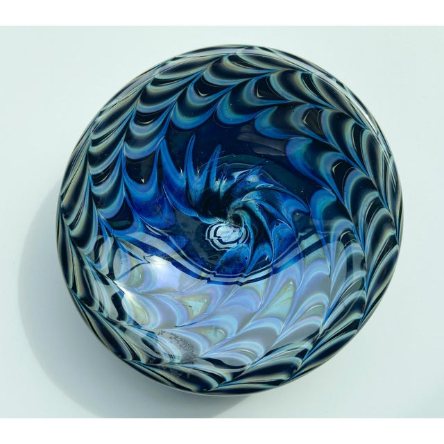 Mid-Century Modern 1980s Signed Iridescent Art Glass Dish For Sale - Image 3 of 6