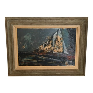 Mid-Century Framed Sailboat Painting For Sale