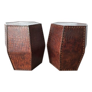 Textured Leather Side Tables - a Pair For Sale