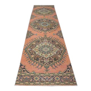 1960s Vintage Hand-Knotted Runner Rug - 3′ × 13′5″ For Sale