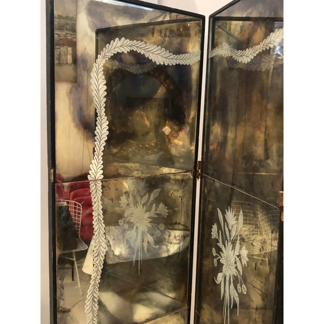 Vintage Four Panel Mercury Mirror Folding Screen For Sale - Image 10 of 13