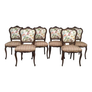 French Provincial Carved Wood Side Chairs, Set of 6, Vintage For Sale