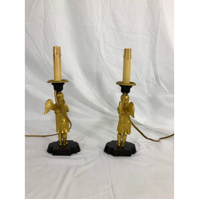 Early 19th Century Bronze French Empire Angel Table Lamps a Pair For Sale - Image 5 of 8