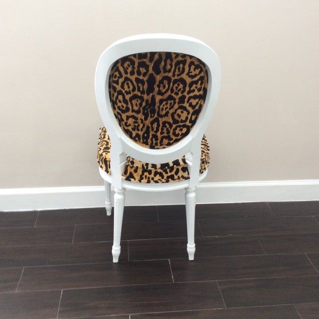 "Gorgeous Leopard print Vintage Louis XVI Round Back Side Chair newly upholstered in Braemore ""Jamil"" fabric. This chair..."