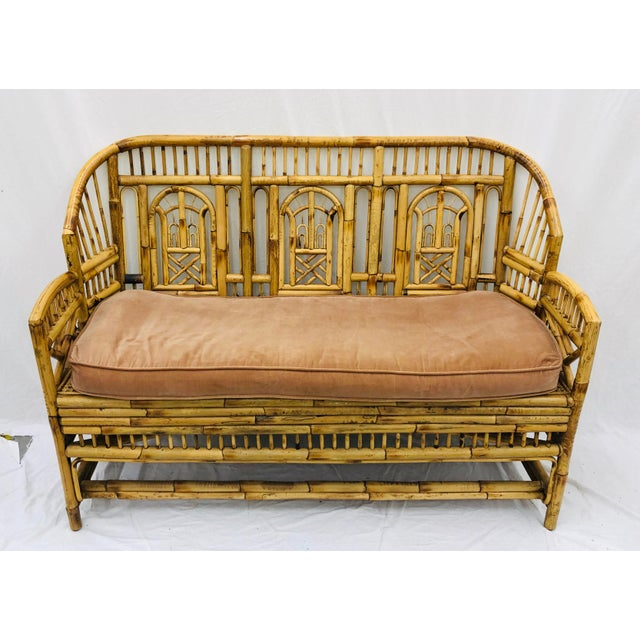 Vintage Chinese Chippendale Bamboo & Cane Settee For Sale - Image 12 of 13