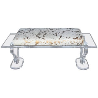 Lucite Bench With Gold Splatter Cowhide Upholstery For Sale