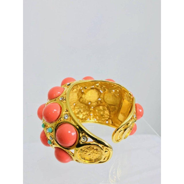 Early 21st Century Kenneth J Lane Faux Coral Turquoise Rhinestone Gold Clamp Cuffs Bracelet For Sale - Image 5 of 8
