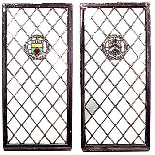 19th Century English Renaissance Leaded Glass Windows-A Pair For Sale