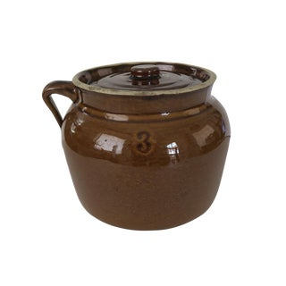 Antique Brown Glazed Number 3 Crock Stoneware Jug With Handle and Lid For Sale