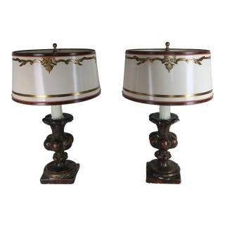 Pair of Italian Polychrome Lamps W/ Parchment Shades For Sale