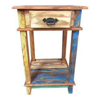 Save the Planet Antique Side Table - Eco-Friendly Reclaimed Solid Wood For Sale