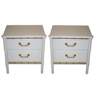 Henry Link White Faux Bamboo Nightstands - A Pair