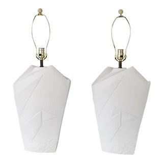 1980s Postmodern White Plaster Table Lamps - a Pair For Sale