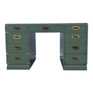 Vintage Green Campaign Style Desk with Leather Top For Sale