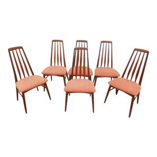 1960's Vintage Koefoed Hornslet Teak Eva Dining Chairs-Set of 6 For Sale