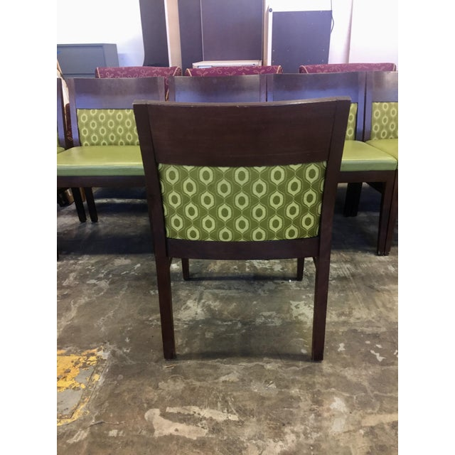 Verdant Green Patterned Dining Chairs - Set of Six - Image 6 of 7