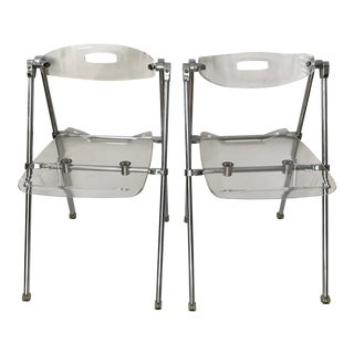 Vintage Mid-Century Modern Lucite Folding Chairs G. Piretti Attributed for Castel- A Pair For Sale