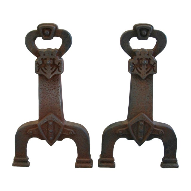 1920s Sheffield New York Fireplace Andirons - Pair For Sale