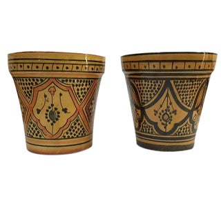 Vintage Moroccan Pottery Planters Flower Pots Morocco Hand Painted - a Set