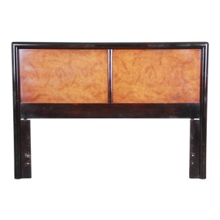 Edward Wormley for Dunbar Burl Wood and Mahogany Queen Size Headboard, 1960s For Sale