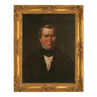 Original Antique Painted Portrait of a Gentleman on Canvas For Sale