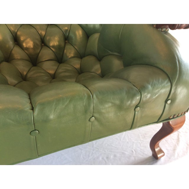 Mid Century Green Leather Spoon Chair and Ottoman For Sale In Tampa - Image 6 of 12
