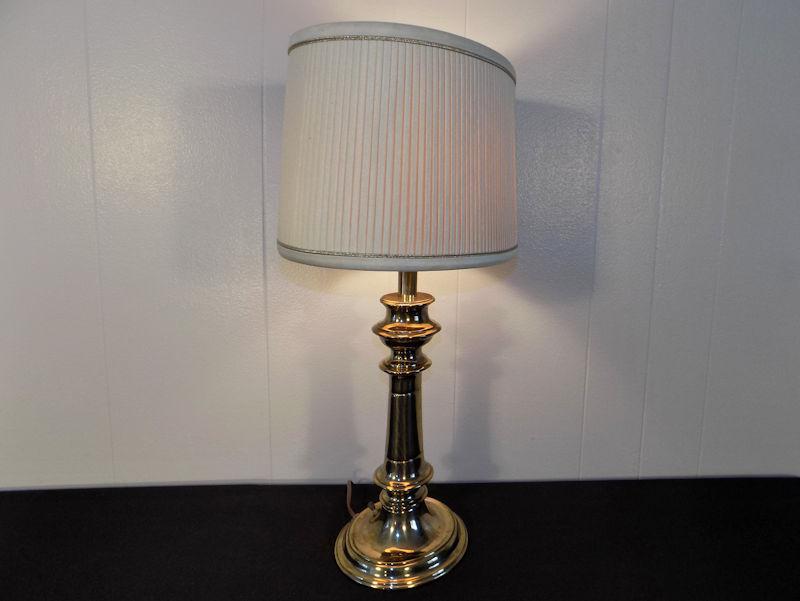 Stiffel Brass Table Lamp Original Oval Shade Chairish