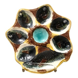 Majolica Oyster Plate With Fish, England Circa 1880 For Sale