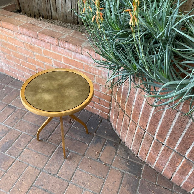1960s 1960s Kipp Stewart for Drexel Round Leathertop End Table For Sale - Image 5 of 12