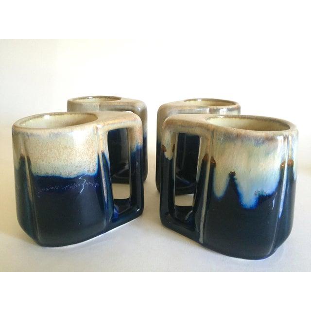 Vintage Mid Century Organic Modern Indigo Blue Drip Glaze Ceramic Handled Mugs - Set of 4 For Sale - Image 9 of 13