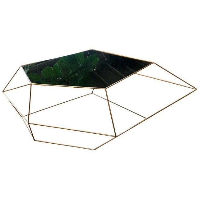 Italian Glass Coffee Table.Ma 39 Italian Rhomboidal Sculptural Brass And Glass Coffee Table