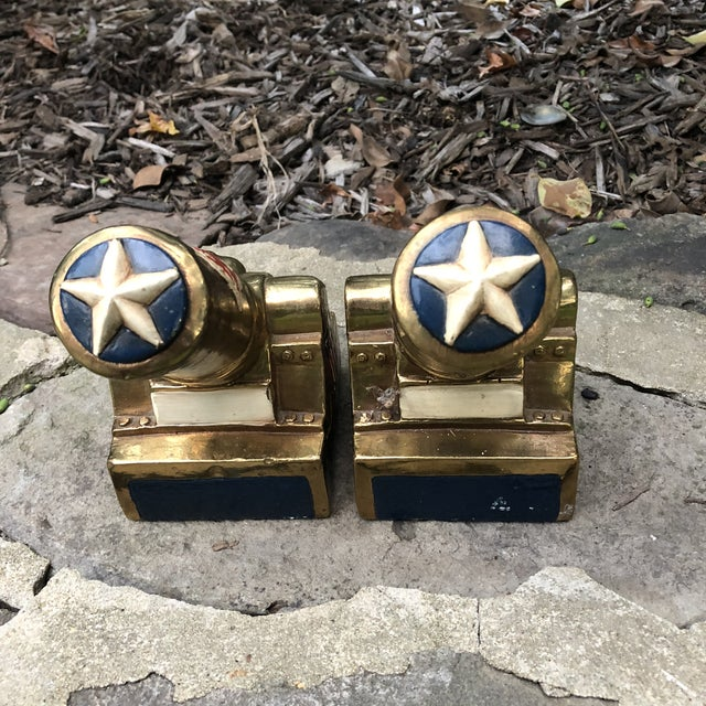 Marion Bronze Co. Americana Patriotic Cannon Bookends - a Pair For Sale - Image 4 of 12