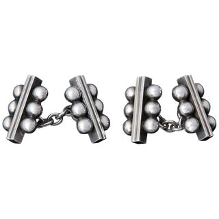 Rare Georg Jensen Sterling Chain Double Cufflinks # 61b by Harald Nielsen, 1940s For Sale