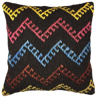 "Vibrant Zig-Zag Rug & Relic Kilim Pillow   16"" For Sale"