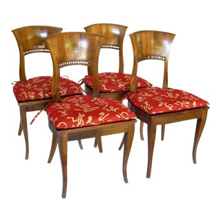 19th Century Biedermeier Fruitwood Dining Side Chairs- Set of 4 For Sale