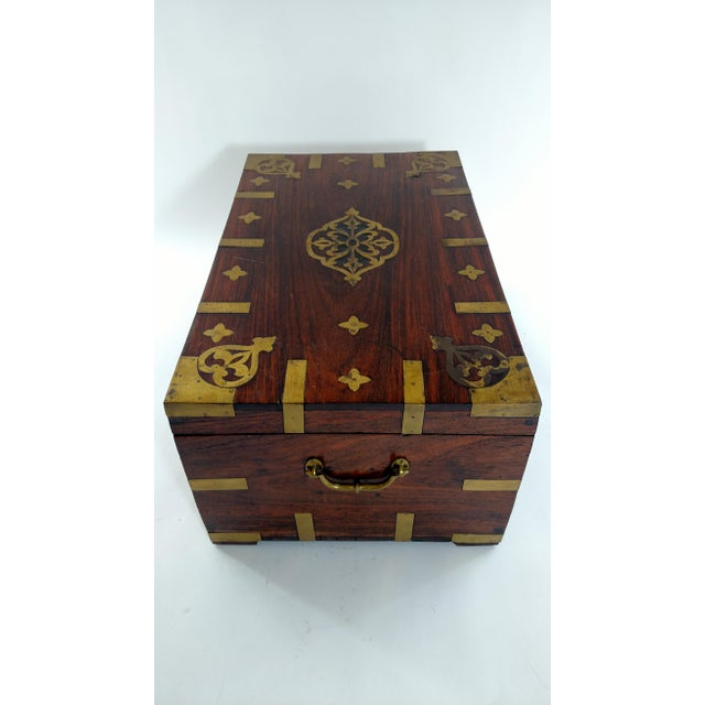 Vintage Brass and Rosewood Indian Chest - Image 3 of 9