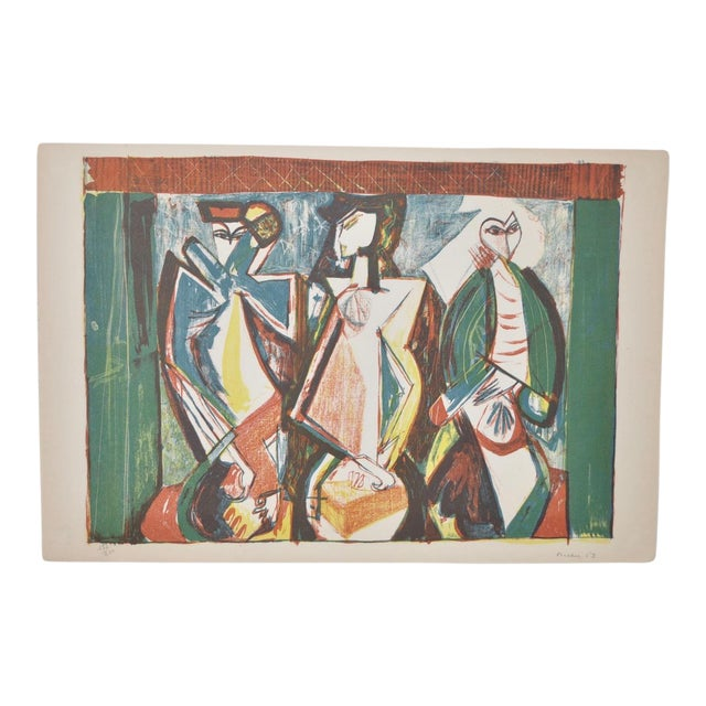 Mid Century Figural Abstract by Becker c.1953 For Sale
