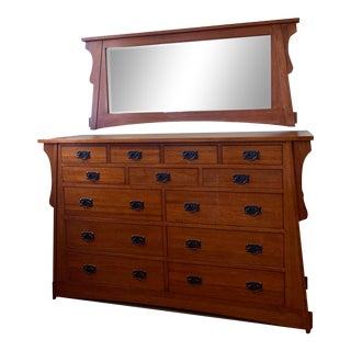 Mission Style Solid Oak Dresser and Mirror Set - 2 Pieces For Sale