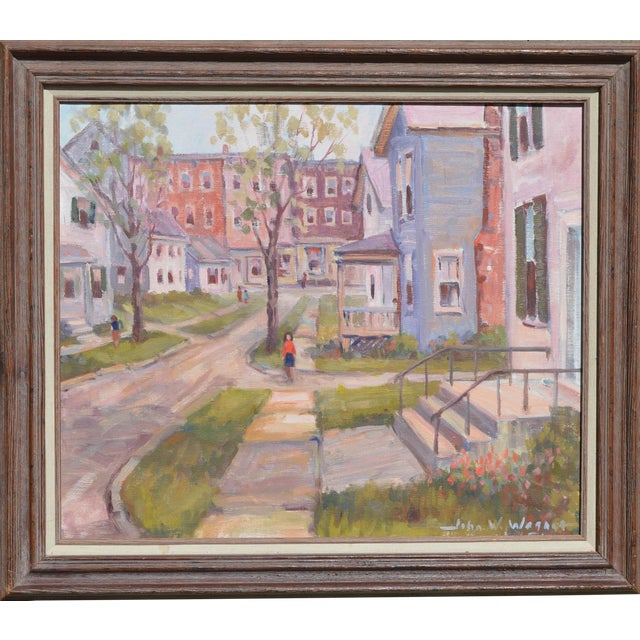 C.1950's John W. Wagner Cityscape Oil Painting For Sale