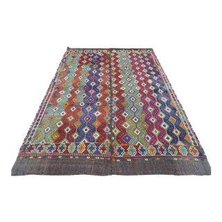Turkish Nomad's Kilim Embroidered Rug For Sale